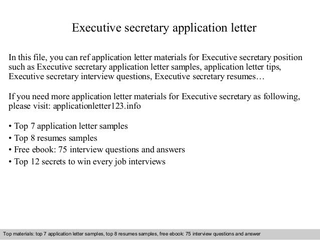 Executive Secretary Application Letter