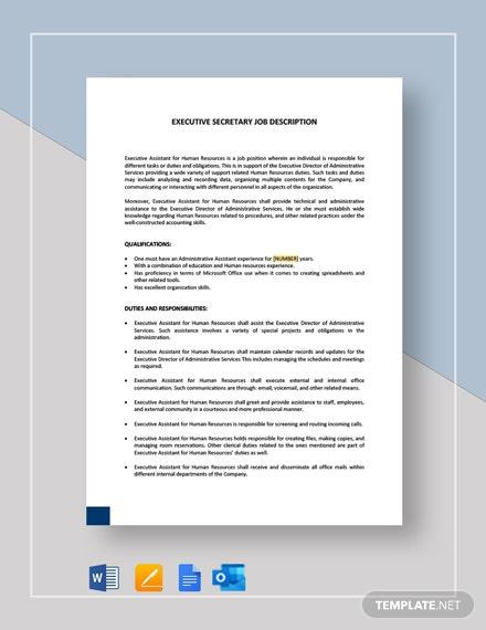 Executive Secretary Job Description Template