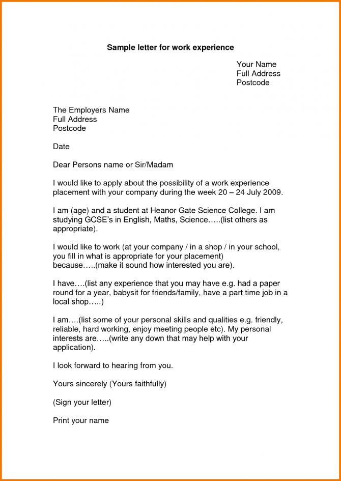 Experience Letter Format For Work Appeal Letters Sample