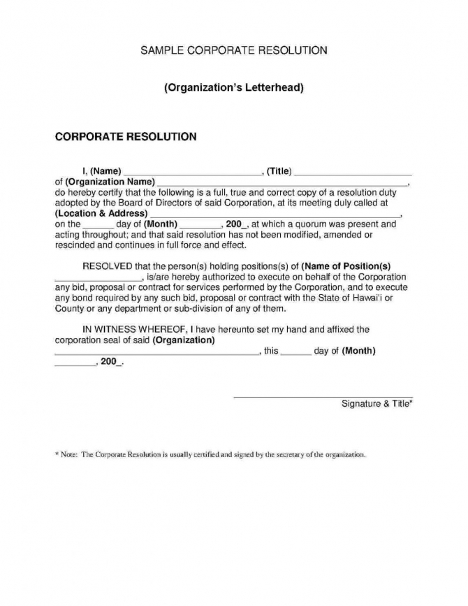 Explore Our Image Of Certificate Of Corporate Resolution Template