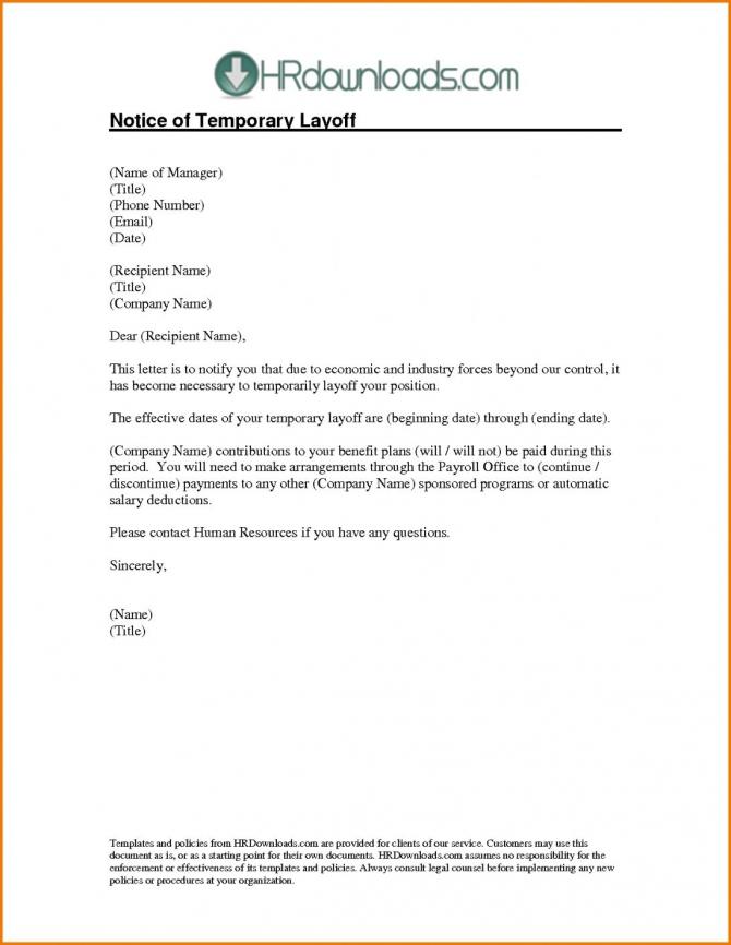 Explore Our Sample Of Temporary Layoff Letter Template For Free In