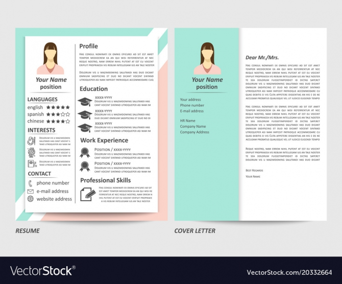 Female Resume And Cover Letter Template Royalty Free Vector