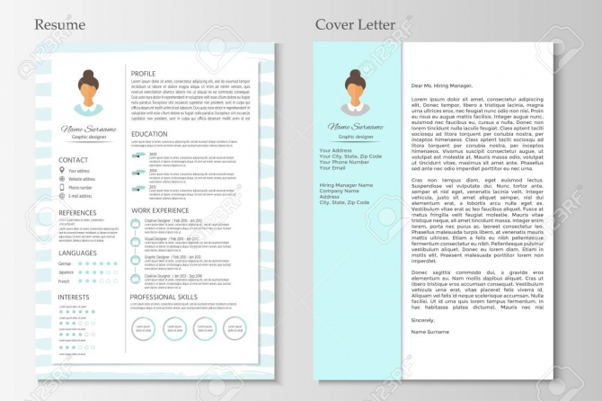 Feminine Resume And Cover Letter With Infographic Design Stylish
