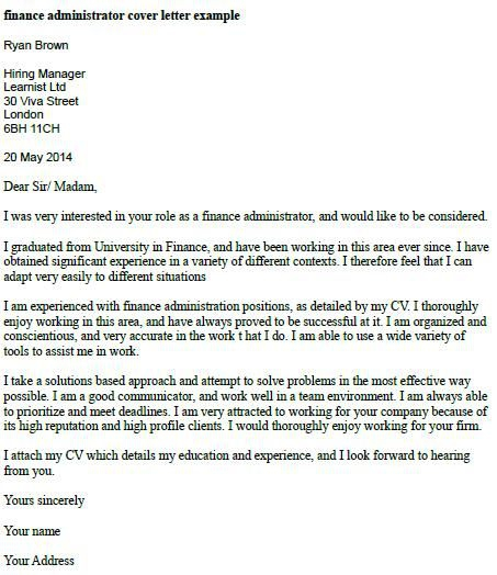 Finance Administrator Cover Letter Example