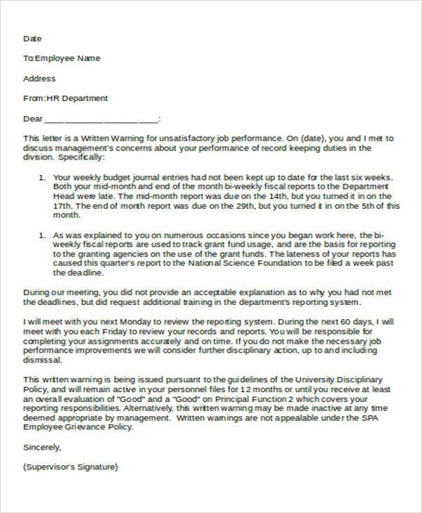 First Warning Letter Templates