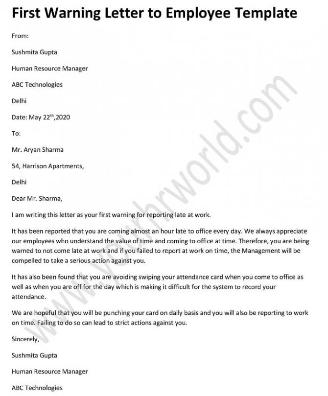 First Warning Letter To Employee Template
