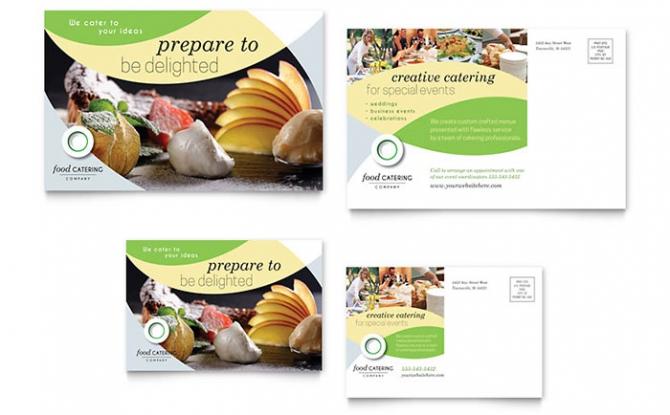 Food Catering Postcard Template Design