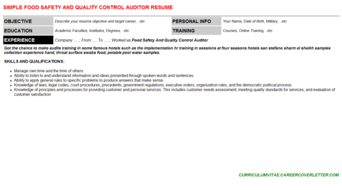 Food Safety And Quality Control Auditor Job Letter   Resume
