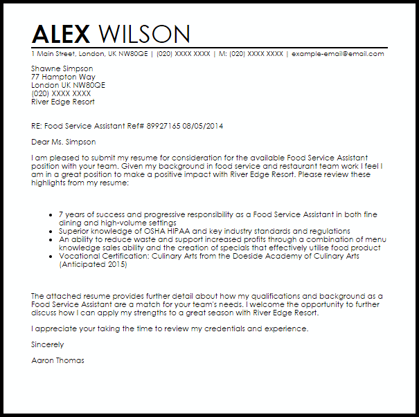 Food Service Assistant Cover Letter Sample
