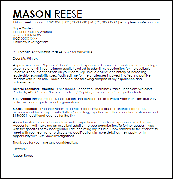 Forensic Accountant Cover Letter Sample