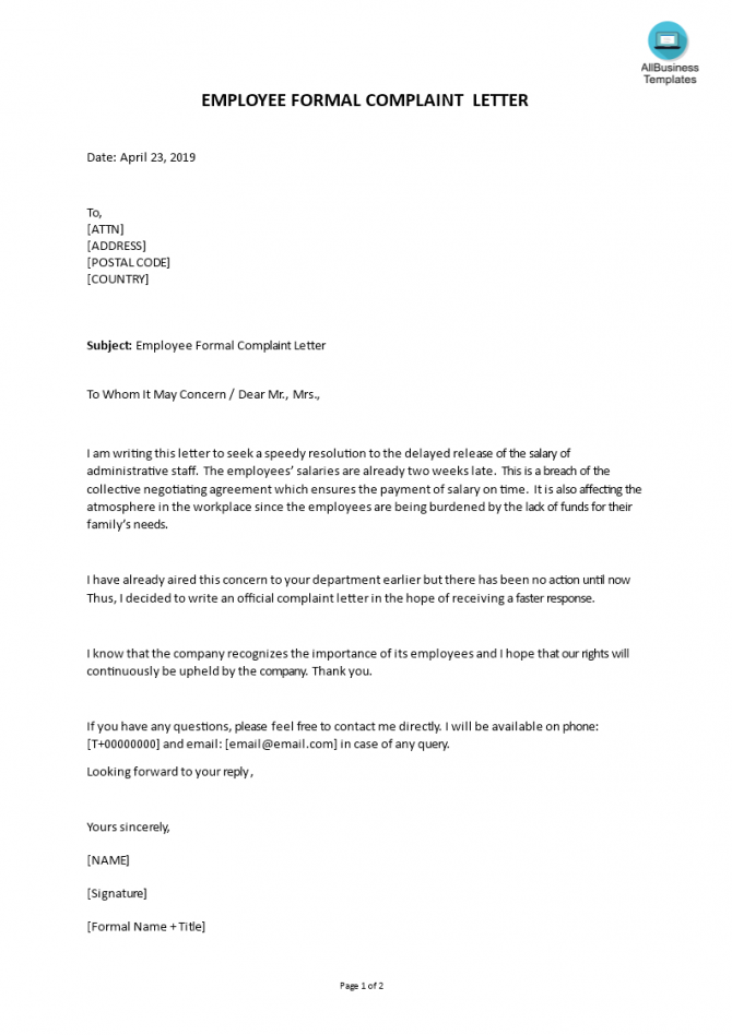 Formal Complaint About Delayed Salaryemployee Templates At