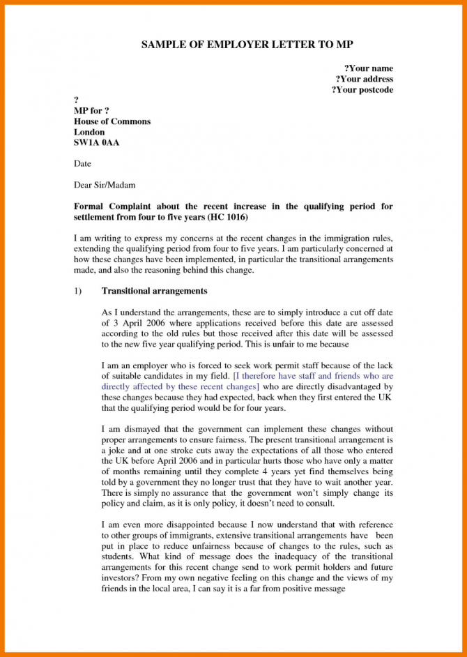 Formal Letter Of Complaint To Employer Template In