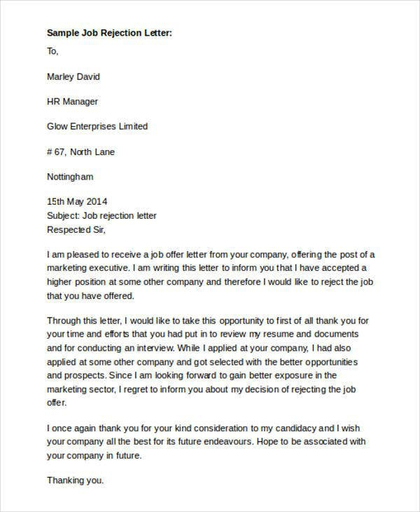 Formal Rejection Letter Templates