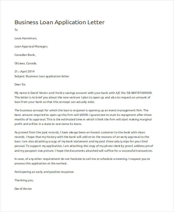 Free  Application Letter Examples   Samples In Editable Pdf