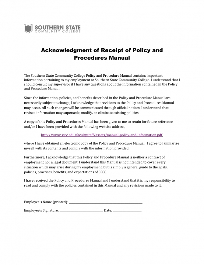 Free  Employee Manual Acknowledgment Forms In Ms Word