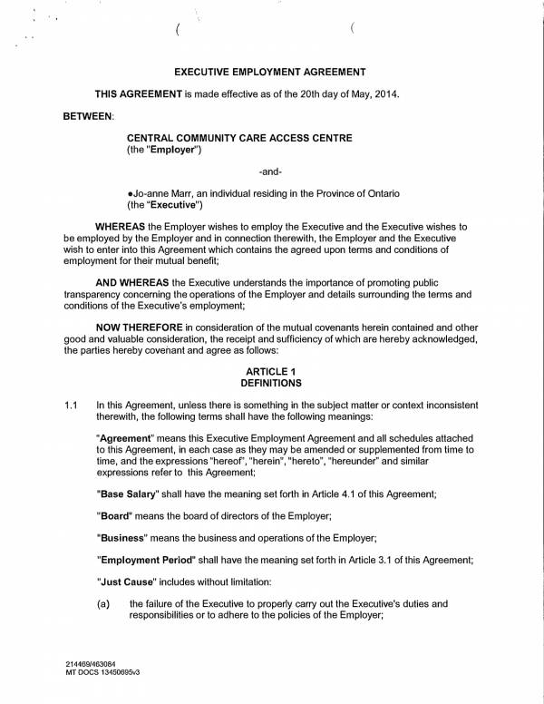 Free  Executive Employment Agreement Templates In Pdf