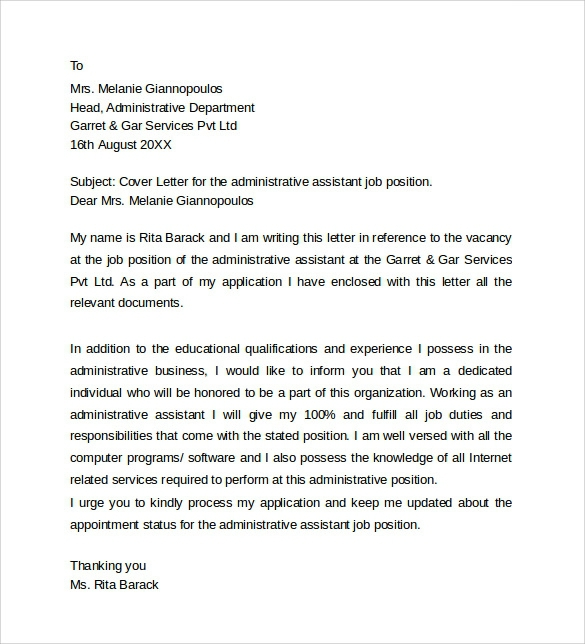 Free  Sample Administrative Assistant Cover Letter Templates In