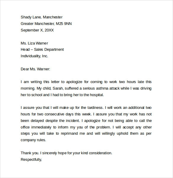 Free  Sample Apology Letters For Being Late In Pdf