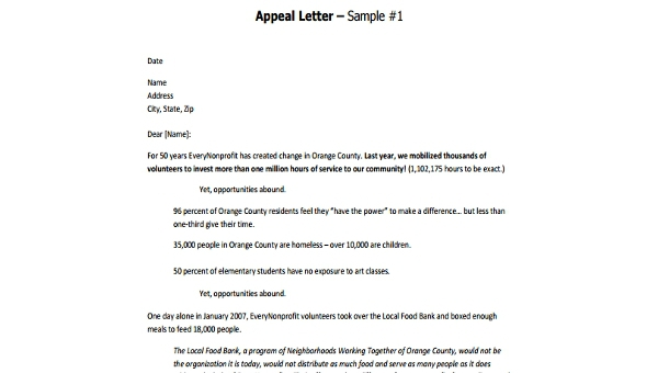 Free  Sample Appeal Letters Format In Ms Word