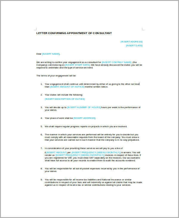 Free  Sample Business Appointment Letter Templates In Pdf