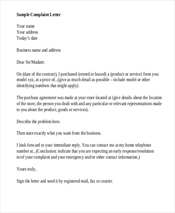 Free  Sample Business Complaint Letter Templates In Ms Word
