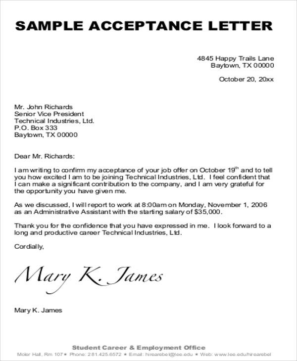 Free  Sample Formal Acceptance Letter Templates Pdf