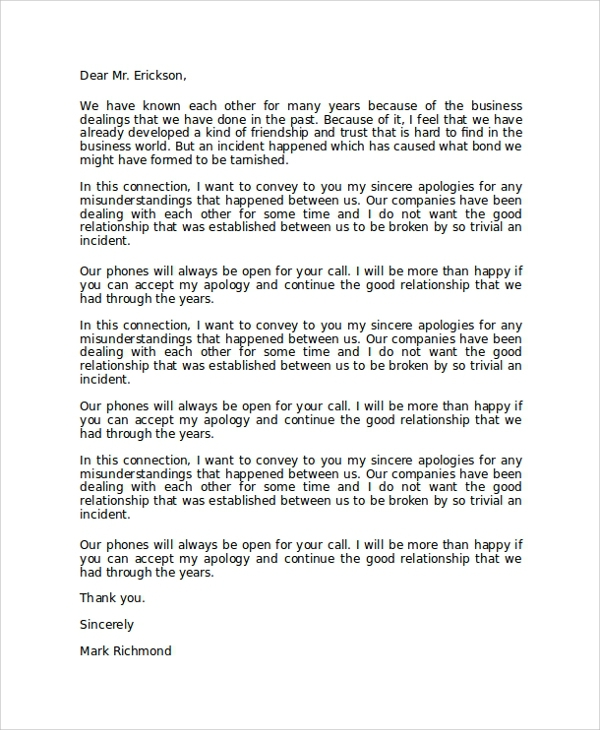 Free  Sample Formal Apology Letter Templates In Pdf