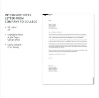 Internship Offer Letter From Company