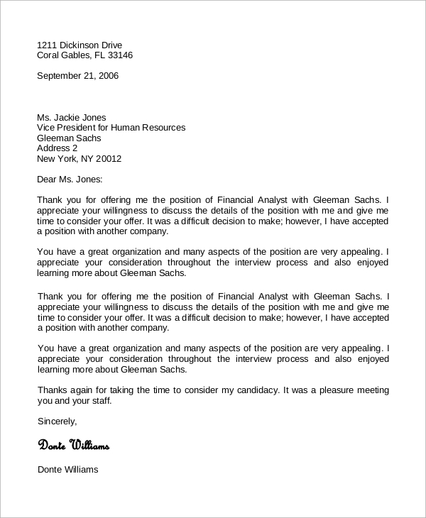 Free  Sample Job Offer Acceptance Letter Templates In Ms Word