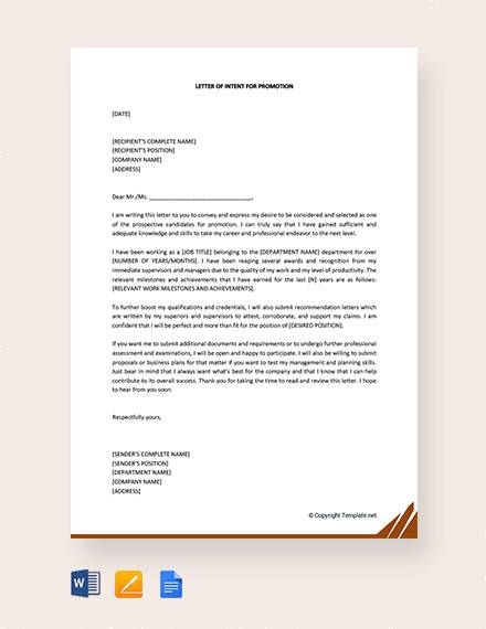 Free  Sample Letter Of Intent For Promotion Templates In Pdf