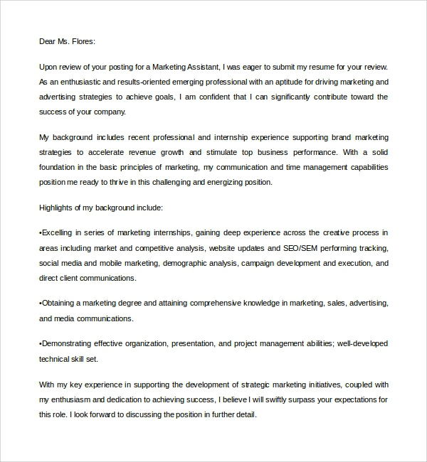 Free  Sample Marketing Assistant Cover Letter Templates In Pdf