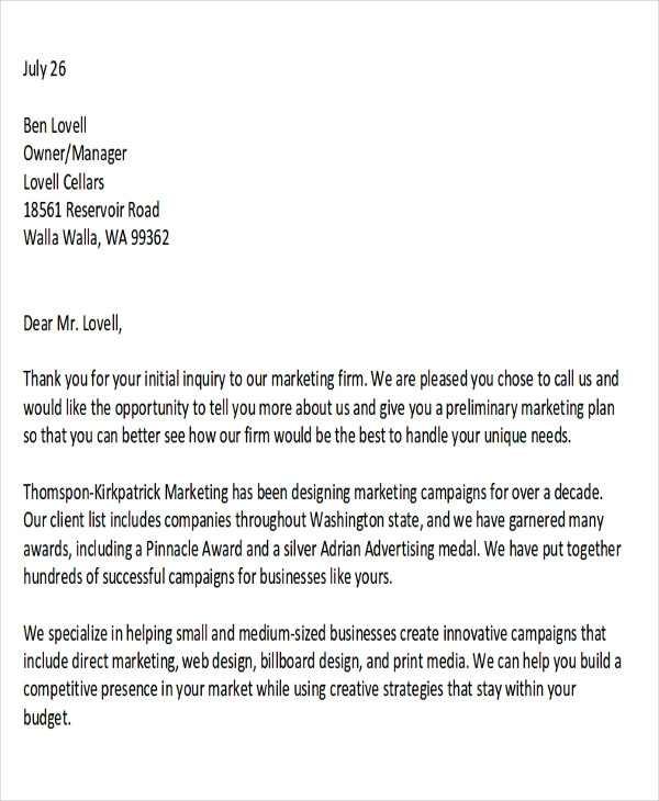 Free  Sample Marketing Proposal Letter Templates In Pdf