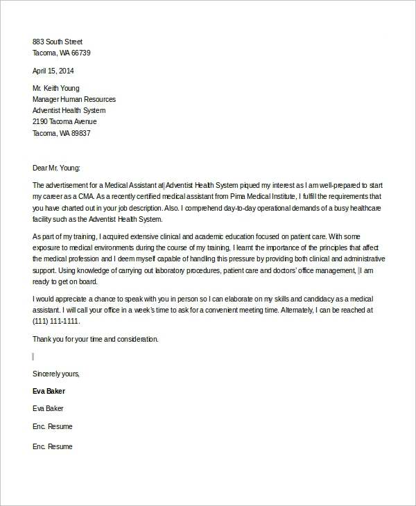 Free  Sample Medical Assistant Cover Letter Templates In Ms Word