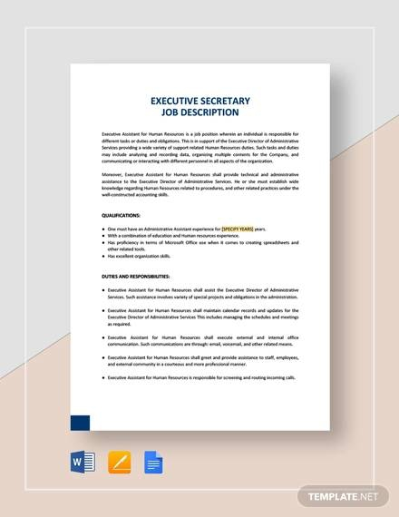 Free  Sample Secretary Job Description Templates In Pdf