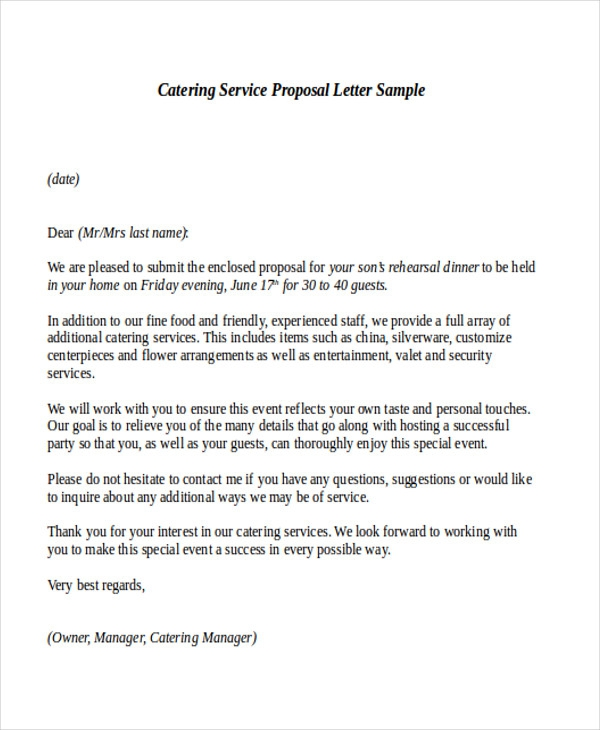 Free  Sample Service Proposal Letter Templates In Ms Word