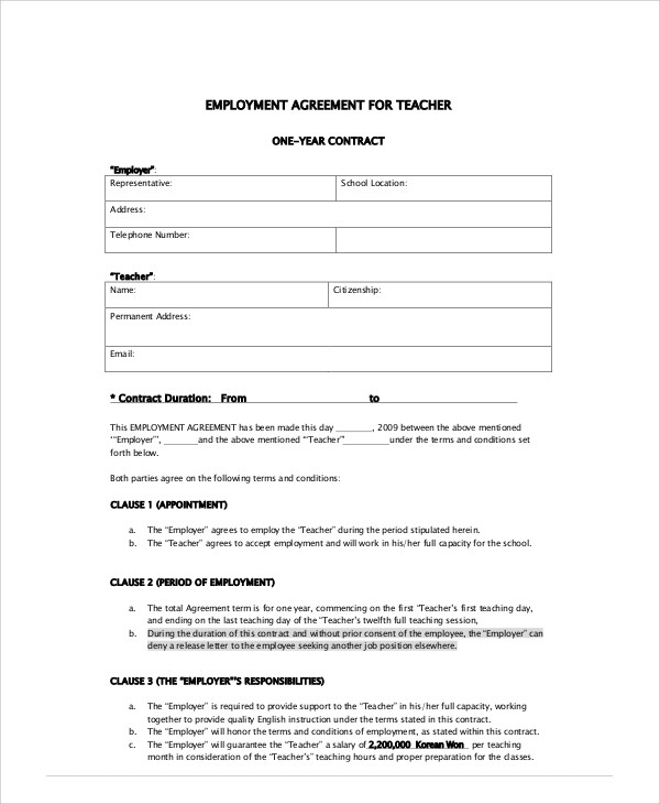 Free  Teacher Agreement Contract Samples In Ms Word