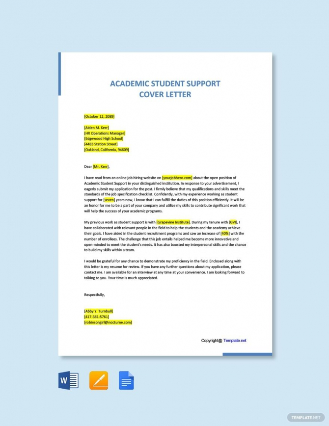 Free Academic Student Support Cover Letter Template In