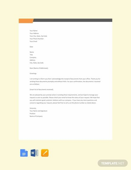 Free Acknowledgement Letter For Receiving Documents In
