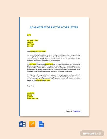 Free Administrative Pastor Cover Letter Template