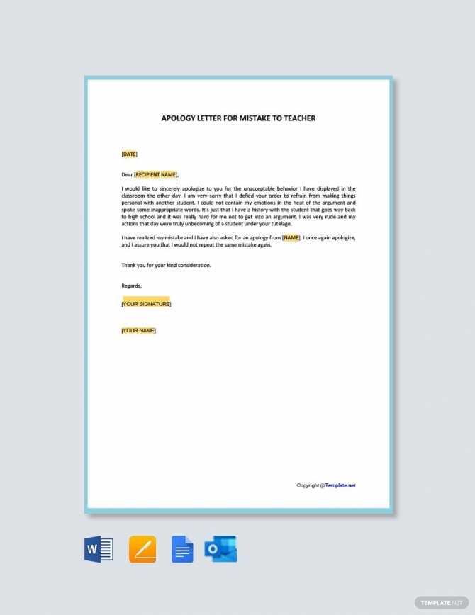 Free Apology Letter For Mistake To Teacher In