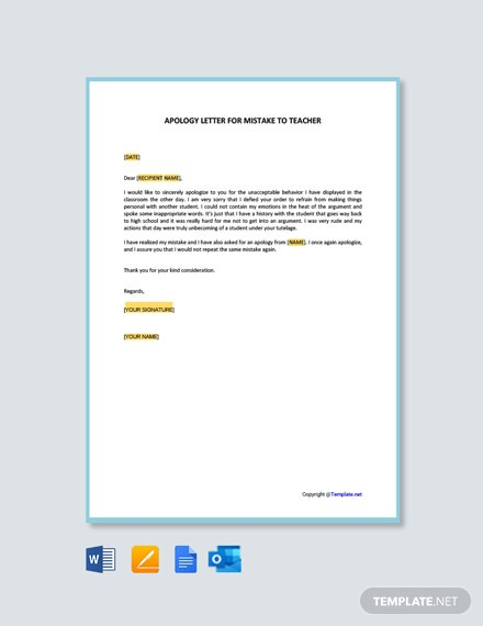 Free Apology Letter For Mistake To Teacher Template