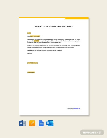 Free Apology Letter To School For Misconduct Template