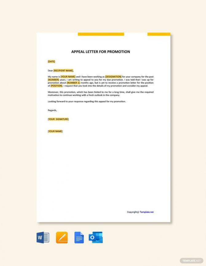 Free Appeal Letter For Promotion In