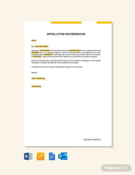 Free Appeal Letter For Promotion Template