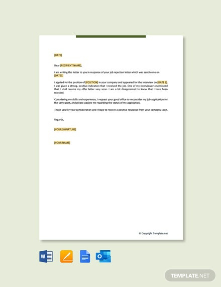 Free Appeal Letter For Work Template