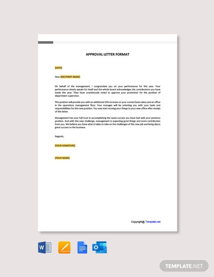 Free Approval Letter Format Template