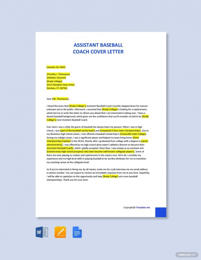 Free Assistant Baseball Coach Cover Letter Template In
