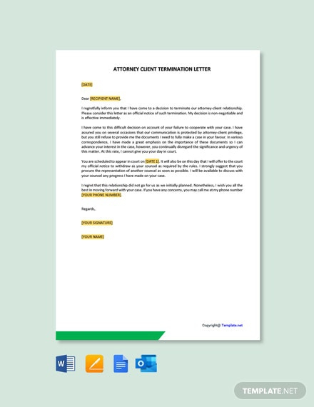 Free Attorney Client Termination Letter Template