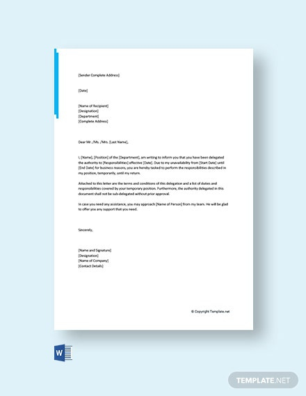Free Authority Delegation Letter Template