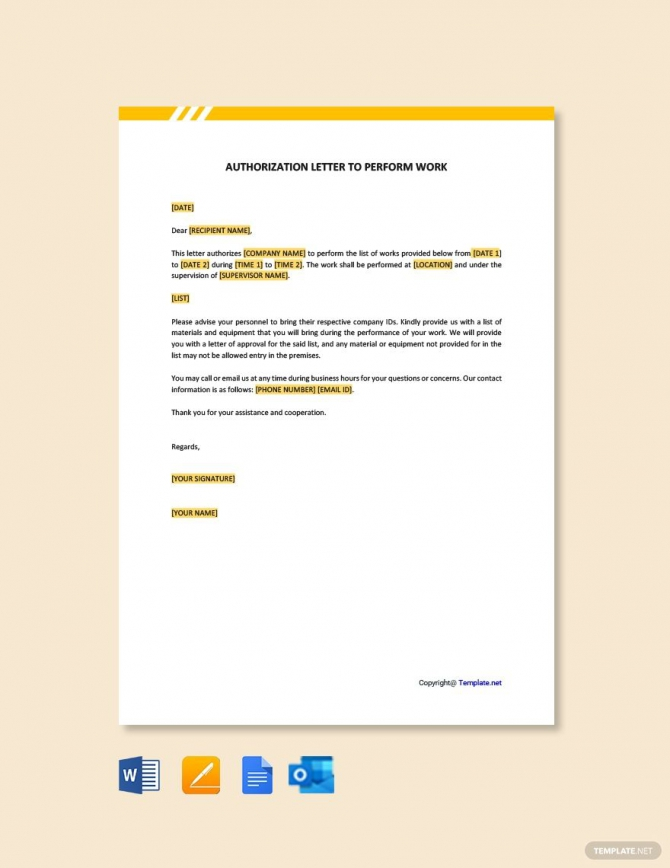 Free Authorization Letter To Perform Work In